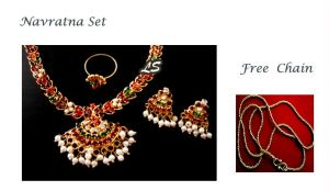 Buy Buy Navratna Set Get Gold Plated Chain Free online