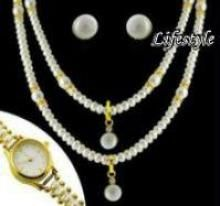 Buy Exclusive Jewellery Pearl Set With Watch online