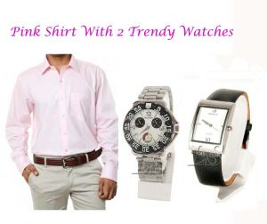 Buy Pink Shirt With 2 Trendy Watches...114 online