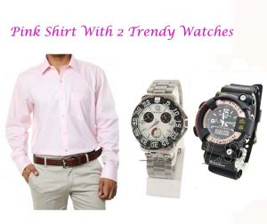 Buy Pink Shirt With 2 Trendy Watches...116 online