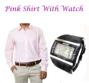 Buy Pink shirt with watch online