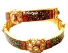 Buy 22k Gold Plated Adjustable Polki Kada ( Pair) online