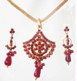 Buy 24crt Gold Forming Ruby Stones Pendant Set online