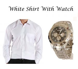 Buy Stylish White Shirt With Stylish Watch online