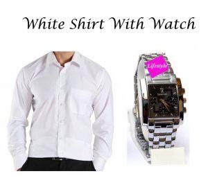 Buy Stylish White Shirt With Stylish Watch...110 online