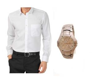 Buy Buy 1 White Shirt And Get 1 Stylish Watch Free ...ls218 online