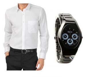 Buy Buy 1 White Shirt And Get 1 Stylish Watch Free ...ls229 online