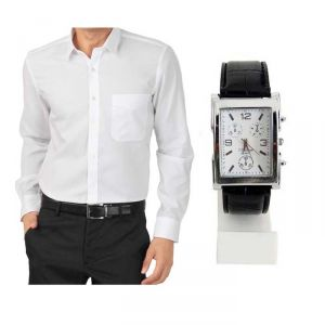 Buy Buy 1 White Shirt And Get 1 Stylish Watch Free ....ls243 online
