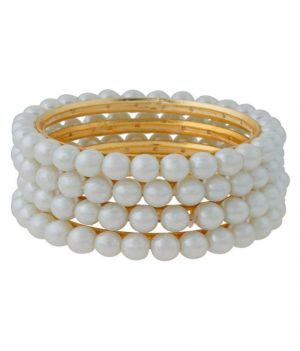 Buy Hi Lifestyles Classic Shell Pearl Bangle Set Of 4 online
