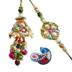 Buy Rakshabandhan Bhayia Bhabhi Shinning Sequins Rakhi N Twinkling Lumba online