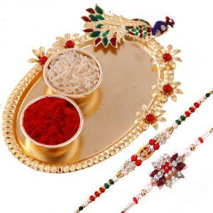 Buy Rakshabandhan Golden Peacock Tikka Thali With Designer Rakhis online
