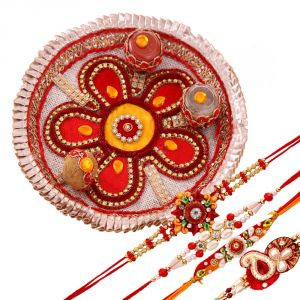 Buy Rakshabandhan Attractive Tikka Thali With Mauli Rakhis online
