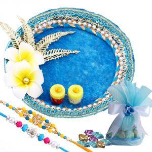 Buy Rakshabandhan Rakhi Tikka Thali With Elegant Rakhi N Chocolates online