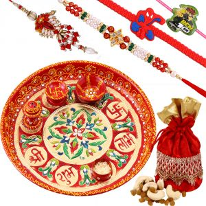 Buy Rakshabandhan Family Rakhi Hamper With Meenakari Thali N Dryfruits online