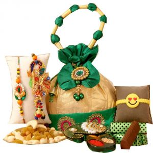 Buy Rakshabandhan Treat Dryfruit & Chocolates With Family Rakhi Hamper online