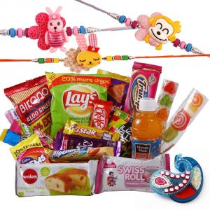 Buy Rakshabandhan Kids Rakhi Hamper Yummy Chocolates N Namkeen online