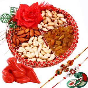 Buy Rakshabandhan Dryfruit Rakhi Thali Hamper With Lord Ganesha online