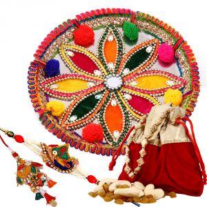Buy Rakshabandhan Rakhi Thali With Bhayia Bhabi Rakhi N Dyfruits online