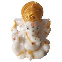 Buy Auspicious White Ganesha Idol By Returnfavors online