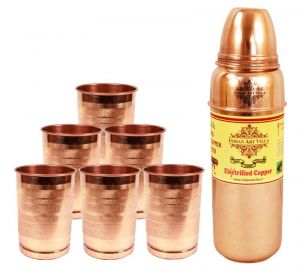 Buy Aayurveda Handmade Pure Copper Set Of 6 Glass Cup And 1 Bottle For Good Health online
