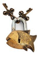 Buy Vaastu Fengshui Antique Gold Lock Fish Shape online