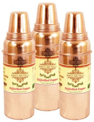Buy Pure Copper Set Of 3 Thermos Design Water Bottle 700 Ml Storage Yoga online
