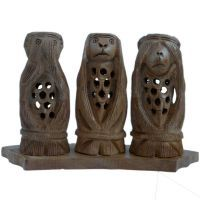 Buy Gandhi Monkey Set Fine Carved Wood Handicraft online