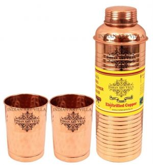 Buy Pure Copper Set Of 1 Bisleri Design Bottle 800 Ml With 2 Glass Tumbler 300 Ml Each - Storage Water online