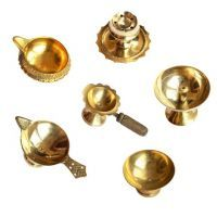 Buy Brass Puja Aarti Diya Combo Of 6 Pieces online