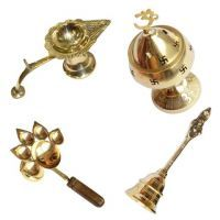 Buy Brass Puja Items Combo Of 4 Pieces online