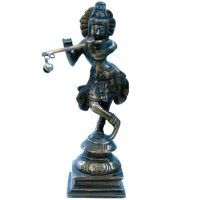Buy Sunshine Rajasthan Lord Krishna Pooja Idol In Antique Pure Brass - 200 online