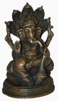 Buy Beautiful Small Antique Finish Brass Ganesha Sitting On Shesshnaag Figurin online
