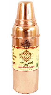 Buy Indian Handmade Copper Thermos Water Bottle With Lid For Health Benefits Iav-c-2-143 online