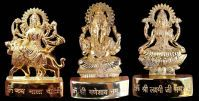 Buy Gold Clave Gold Plated Ganesh Laxmi Durga Idol - 5 Inches online