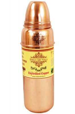 Buy Indian Handmade Copper Thermos Water Bottle With Lid For Health online