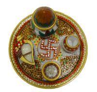 Buy Anjalika Marble Puja Thali With Kalash online