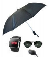 Buy Umbrella , LED Watch And Black Aviator Sunglasses online