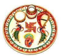Buy Anjalika Marble Designer Puja Thali online