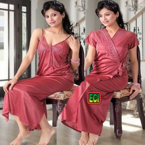 Buy Eci - Gown & Inner Maxi Nighty 2pc Set Satin Night Suit Ladies Sleep Wear online