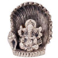 Buy White Metal Antique Lord Ganesha On Naag Idol 310 online