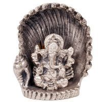 Buy Sunshine Rajasthan White Metal Antique Lord Ganesha On Naag Idol online