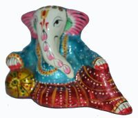 Buy Beautiful Painted Ganesha Statue W/meenakari Work Copper Metal Statue online