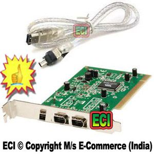 Buy Eci - Dv Capture PCI Firewire Iee1394 Card & Iee 1394 Fire Wire Port Cable online