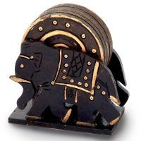 Buy Elephant Design Wooden Tea Coaster Handicraft -110 online