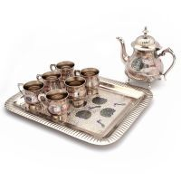 Buy Pure Brass Royal Meenakari Work Real Tea Set -187 online