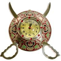 Buy Rajasthani Real Brass Sword Armour Wall Clock online