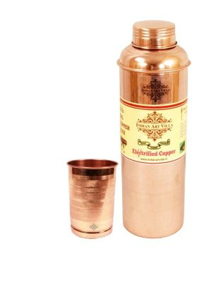 Buy Pure Copper Thermos Design Water Bottle 700 Ml, 1 Glass Tumbler 300 Ml online