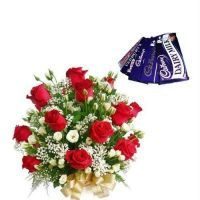 Buy Red Roses Bouquet - Chocolate - Surprise Gift online