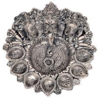 Buy Sunshine Rajasthan Pretty White Metal God Ganesha Silver Dia Idol 319 online