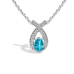 Buy Ag Gem Diamond Blue Pear Gemstones Pendant online